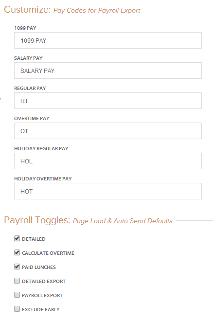 payroll settings